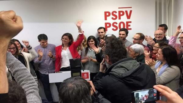 Sandra Gómez tras su victoria en las primarias