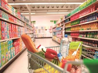 Compra, supermercado, carrito, saludable.