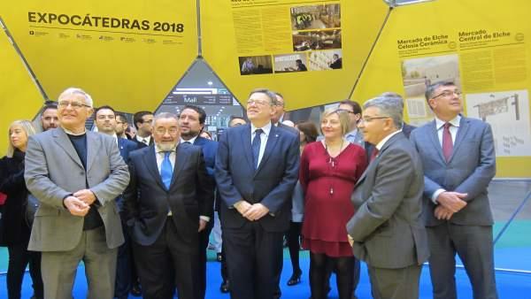 Ribó, González, Puig, Salvador y Climent en la inauguración de Cevisama