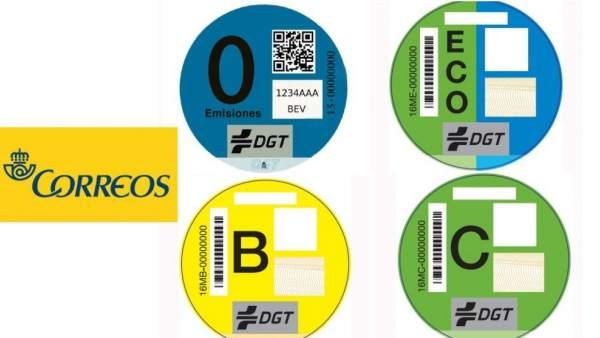 Etiquetas medioambientales para coches.