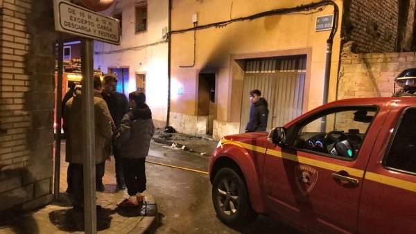 Incendio en la calle Cuesta Nueva de Gallur (Zaragoza)