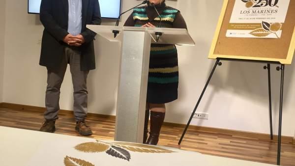 La diputada de Cultura, Lourdes Garrido, y el alcalde de Los Marines.