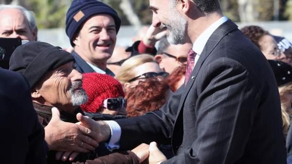 El rey Felipe en su visita a Málaga en febrero de 2018