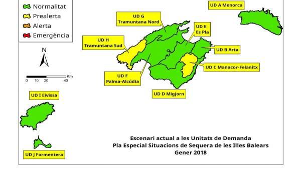 Gráfico del índice de sequía de Baleares en febrero de 2018