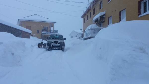 Nieve, temporal, nevada, Somiedo, Asturias