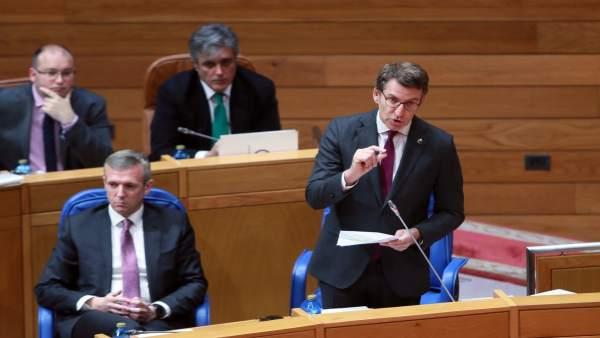 El presidente de la Xunta de Galicia, Alberto Núñez Feijóo, en el pleno