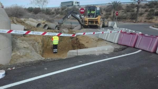 Trabajos previos en la carretera de Vera a Garrucha