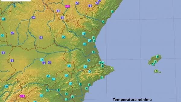 La Comunitat Valenciana registra temperatures per sota de zero durant la nit que arriben als -7,9 Cº a Ademuz