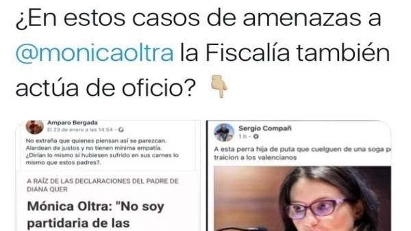 L'equip d'Oltra pregunta a Fiscalia si investigarà d'ofici amenaces de mort en xarxes socials a la vicepresidenta