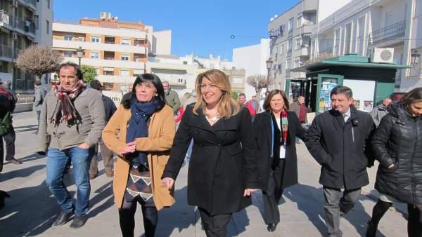 Susana Díaz en su visita a Torredelcampo