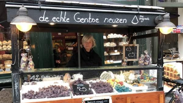 Puesto de dulces en el centro de Gante