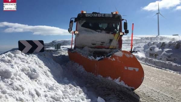 Tancades per la neu tres carreteres dels Ports i l'Alt Maestrat en la província de Castelló