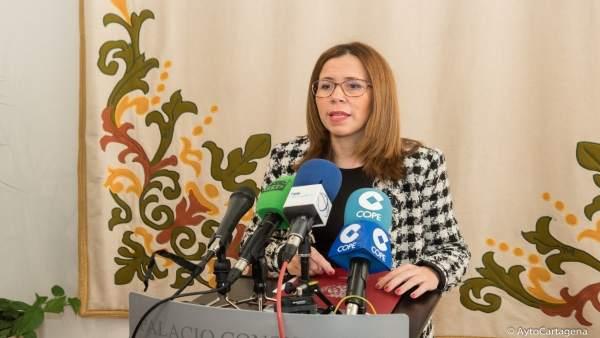 La alcaldesa de Cartagena, Ana Belén Castejón, comparece ante los medios