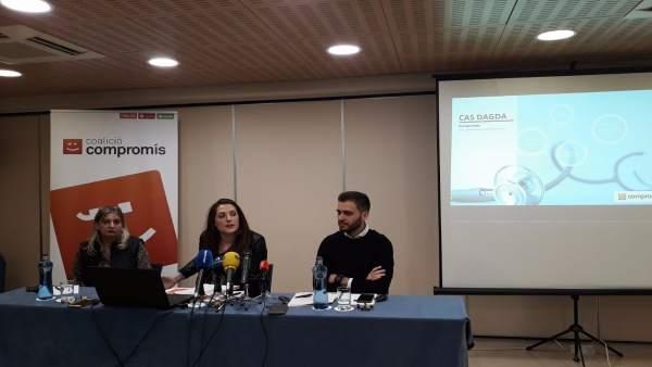 Katia, Marian Campello y Fran Ferri, en la presentación el pasado martes