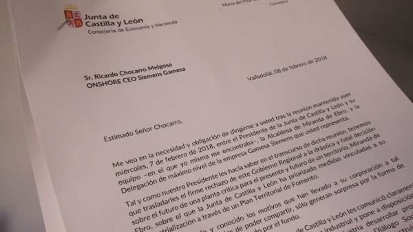 Imagen de la carta de la Junta a Gamesa sobre la planta de Miranda