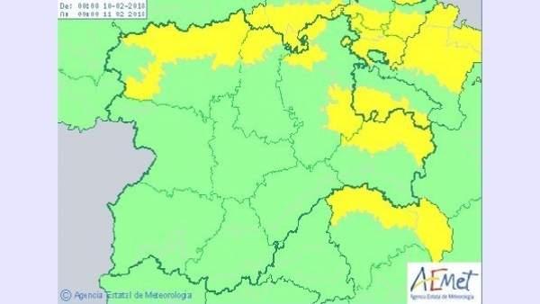 Cuadro sobre la previsión de nevadas en CyL