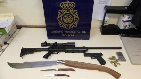 Armas y droga  intervenidas