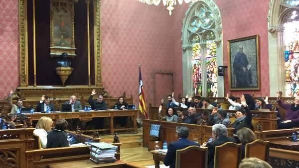 Los consellers votando en el pleno del Consell de Mallorca