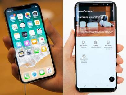 Iphone X y Galaxy S8