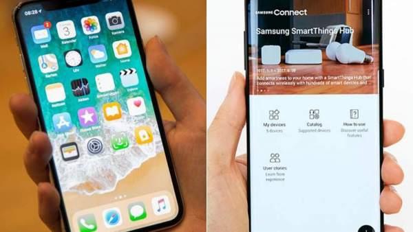 Iphone X y Galaxy S8