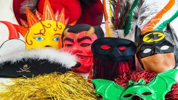 Artículos de carnaval, máscaras, disfraz