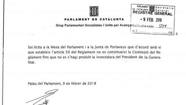 El PSC pide al Parlament no constituir la Comisión del Reglamento.