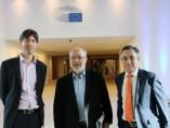 Los eurodiputados Jordi Solé, Josep-Maria Terricabras y Ramon Tremosa en el Parlamento Europeo.