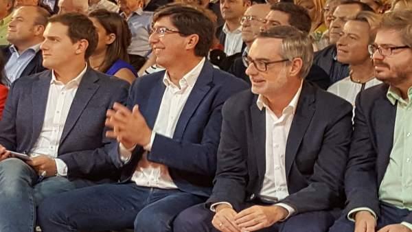 Albert Rivera, Juan Marín y José Manuel Villegas (Cs)
