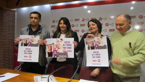 Andrés y Temprano junto a las secretarias de Igualdad de CCOO y UGT