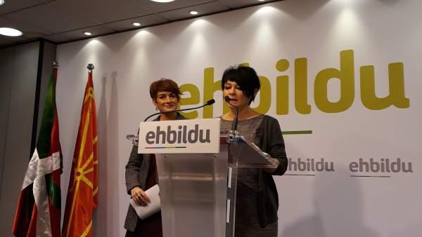 Bakartxo Ruiz y Maddalen Iriarte, portavoces de EH Bildu.