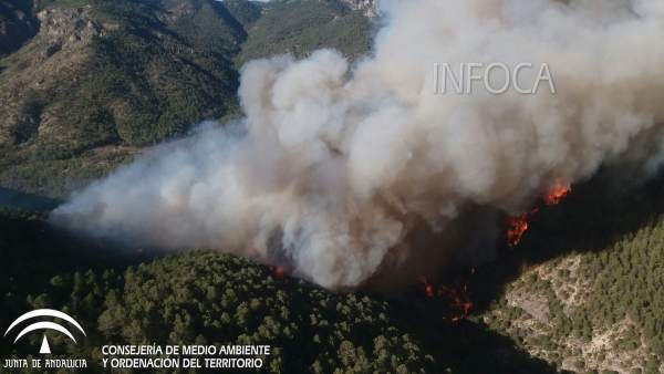 Imagen del incendio registrado en Segura de la Sierra en agosto de 2017.