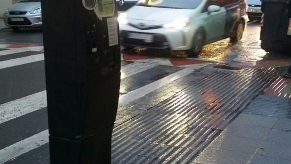 Parquímetro en una calle de Vitoria