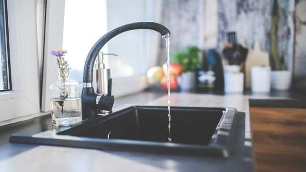Grifo, agua, cocina, fregadero