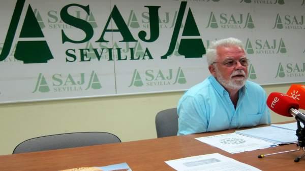 Ricardo Serra, presidente de Asaja-Sevilla, hoy en rueda de prensa.