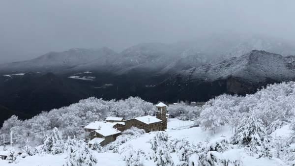 Paisaje nevado en Fígols (Barcelona)