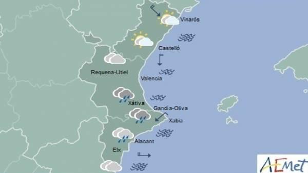 Les pluges tornen aquest dilluns a la Comunitat Valenciana acompanyades d'un descens de temperatures