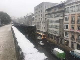 La nieve condiciona la circulación en diferentes puntos de Galicia