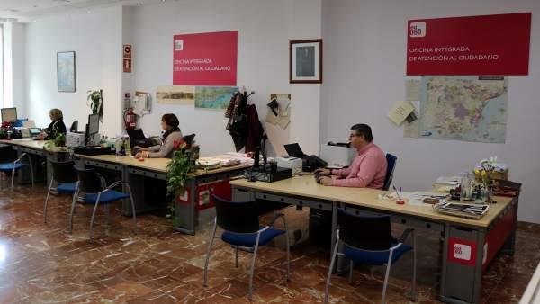 La oficina de atención al ciudadano de la Subdelegación de Huelva.