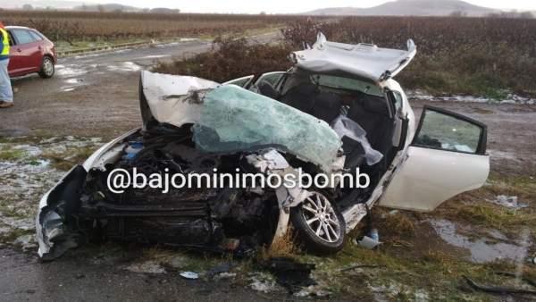 Vehículo de la fallecida en accidente de tráfico en Entrena