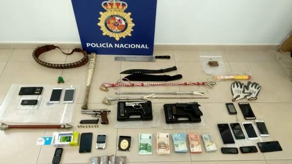 Incautaciones en la operación contra secuestro en Sanlúcar