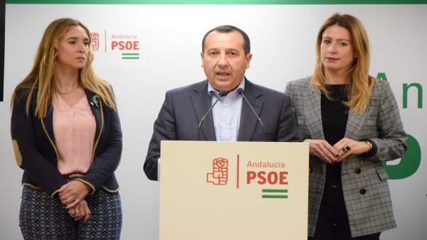 Ruiz Espejo, secretario provincial del PSOE, en rueda de prensa en Málaga