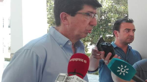 El líder andaluz de Cs, Juan Marín, en declaraciones a los periodistas