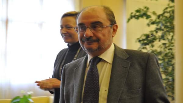 El presidente aragonés, Javier Lambán, y la consejera Marta Gastón.