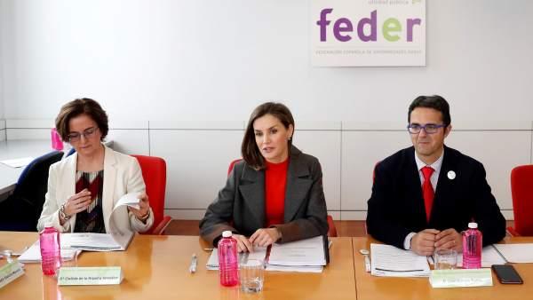 La Reina Letizia junto al presidente de la Federación Española de Enfermedades Raras, Juan Carrión.