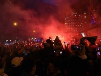 Las inmediaciones del Bernabéu, poco antes del comienzo del partido.