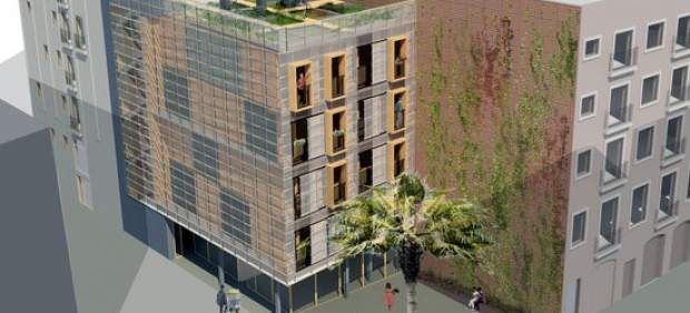 Imagen virtual de un bloque de viviendas prefabricado de los que se construirán en Barcelona.