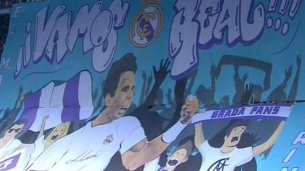 Rafa Nadal, protagonista del tifo en el Bernabéu.