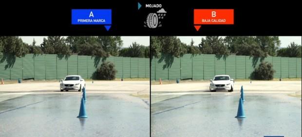Un neumático de mala calidad puede alargar hasta 18 metros una frenada en mojado a 80 km/h