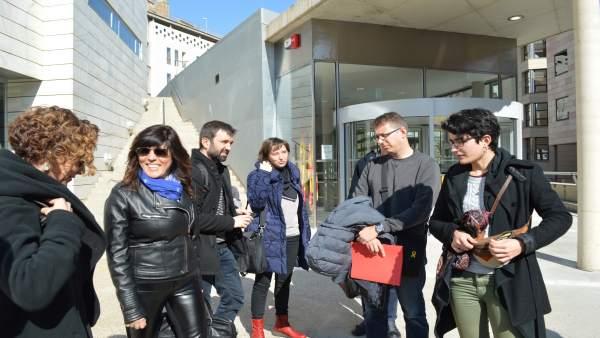 Miembros de la plataforma Lleida lliure de franquismo