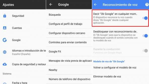 Ajustes sobre búsquedas de voz de Google
